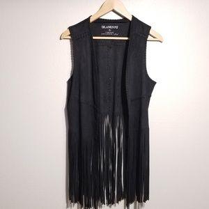 Blank NYC Black Faux Suede Boho Fringe Vest Small